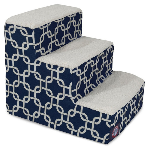 Navy Blue Links 3 Steps Pet Stairs