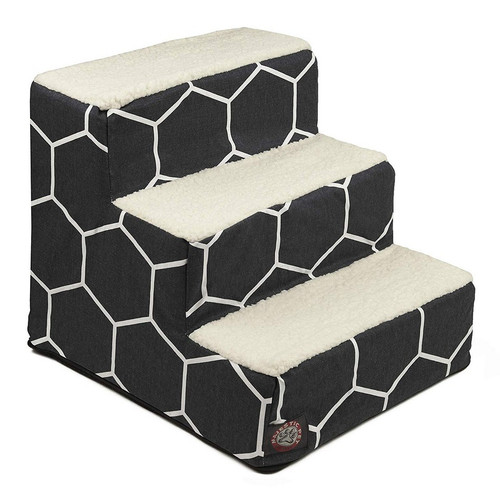 Black Hexo Shapes 3 Steps Pet Stairs