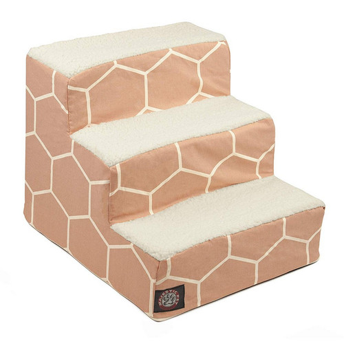 Blush Pink Hexo Shapes 3 Steps Pet Stairs