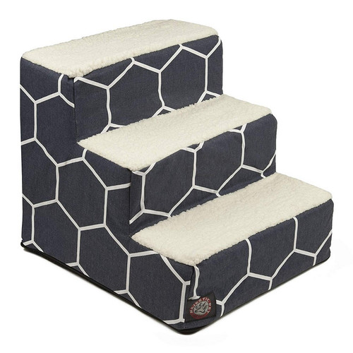 Navy Blue Hexo Shapes 3 Steps Pet Stairs