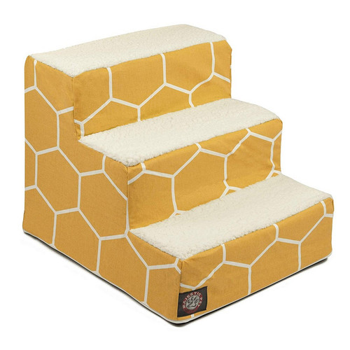 Yellow Hexo Shapes 3 Steps Pet Stairs