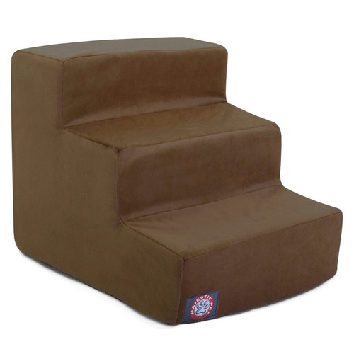 Chocolate Suede 3 Steps Pet Stairs