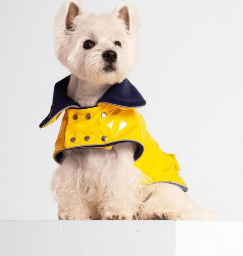 Dog Raincoat- Yellow PVC - with fleece lining