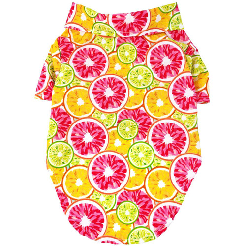 Dog Hawaiian Shirt - Citrus Slices - back