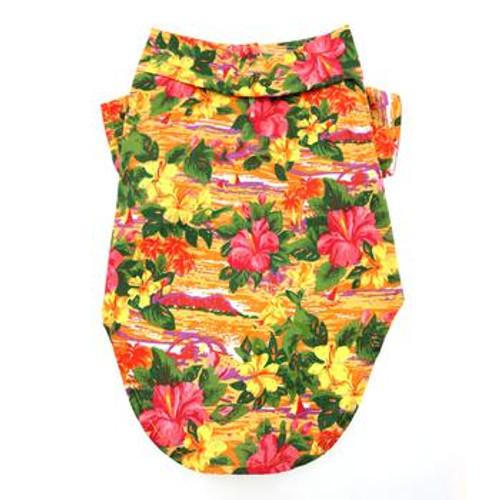 Dog Hawaiian Shirt - Sunset Hibiscus - back