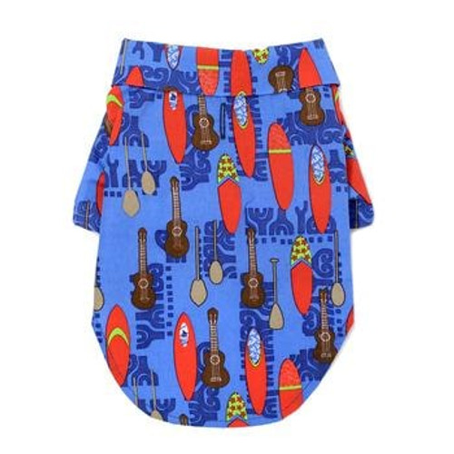 Dog Hawaiian Shirt - Ukuleles and Surfboards - Back