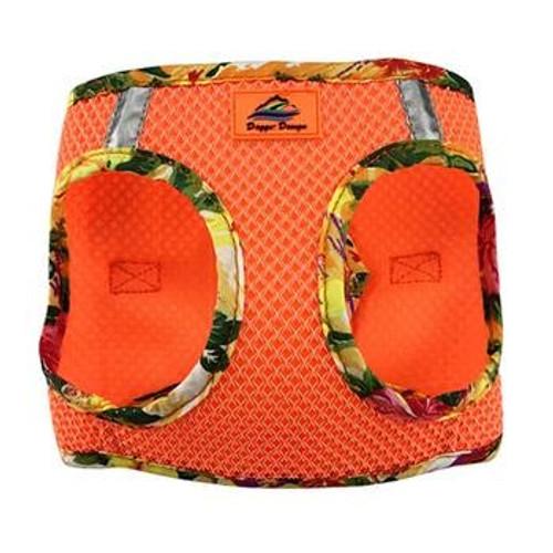 Mesh Dog Harness -Sunset Orange Hawaiian Trim