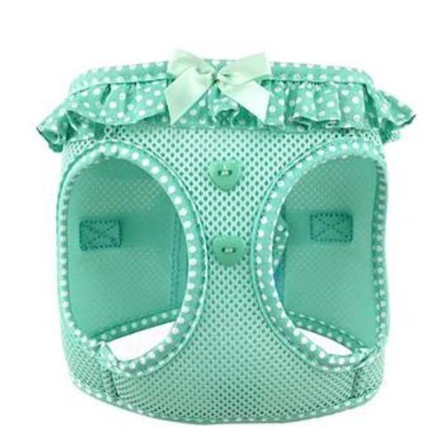 mesh dog harness - Teal Polka Dot