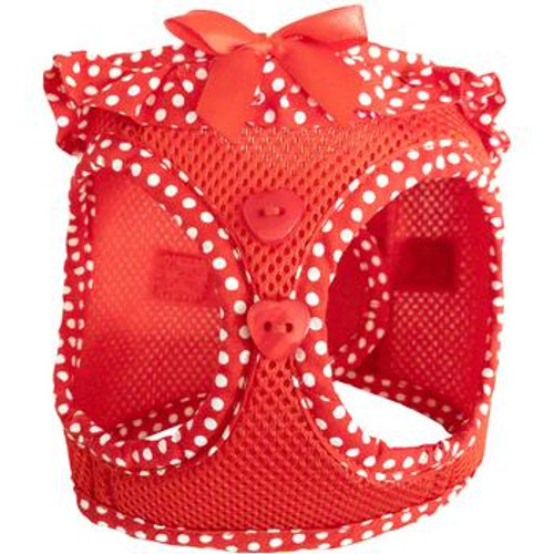 mesh dog harness - Red Polka Dot