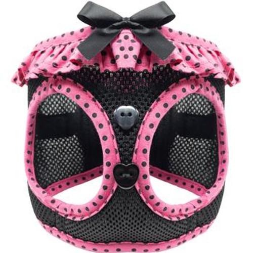 mesh dog harness - Hot Pink and Black Polka Dot