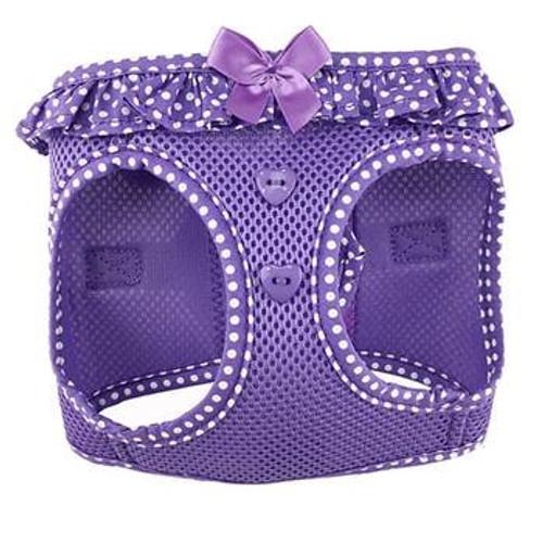 mesh dog harness - Paisley Purple Polka Dot