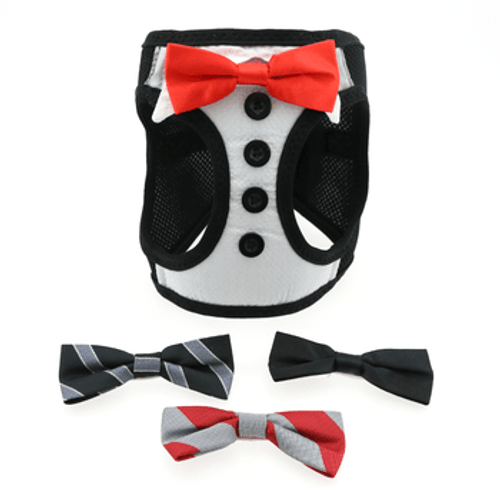 Mesh Dog Harness - Tuxedo with 4 Interchangeable Bows
