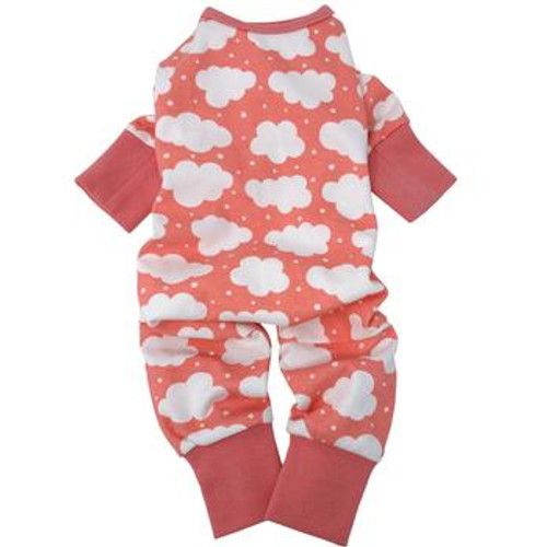 Dog Pajamas - Fluffy Clouds - Coral