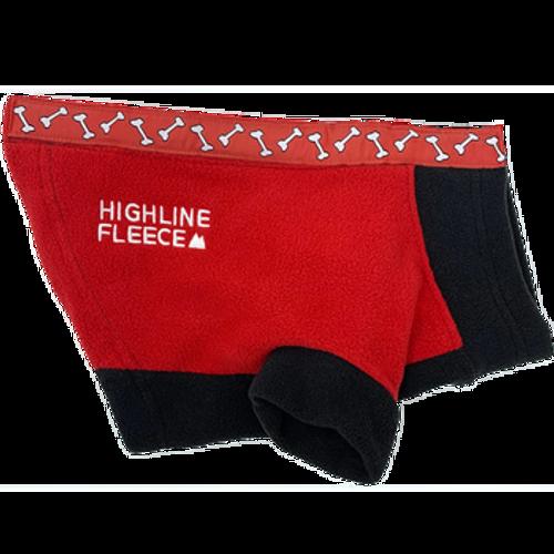 Dog Coat - Highline Fleece Red and Black with Rolling Bones