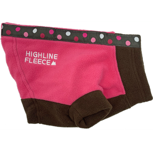 Dog Coat - Highline Fleece Pink and Brown with Polka Dots