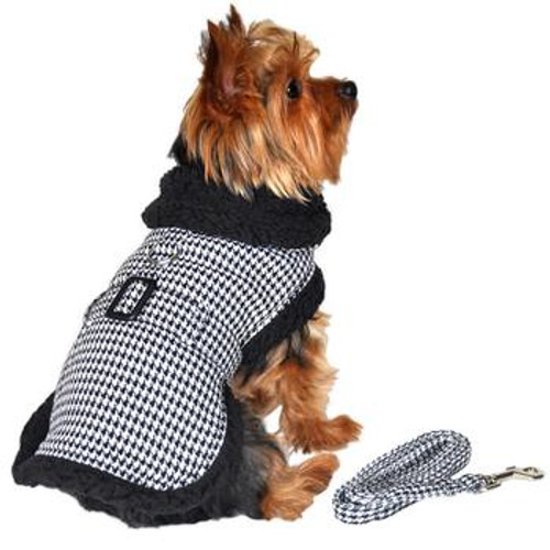 Dog Harness Coat with Leash - Black and White Classic Houndstooth