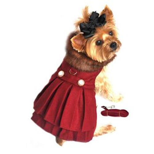 Little dog wearing Dog Harness Coat - Burgundy Wool Fur-Trimmed