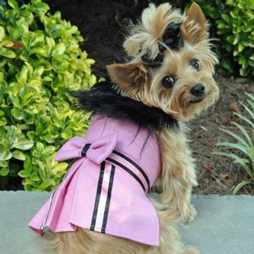 Dog Harness Coat - Wool Fur-Trimmed in Pink