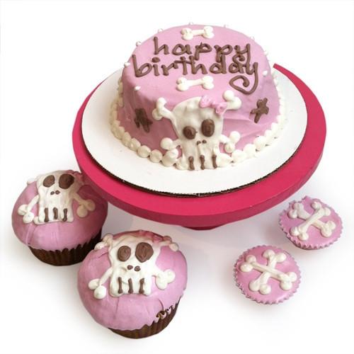 Pink Punk Rock Skull Dog Birthday Cake