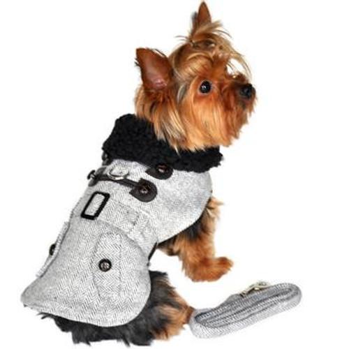 Little dog wearing Dog Harness Coat - Herringbone in Grey