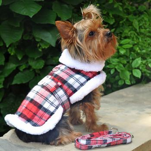 Little dog wearing Dog Harness Coat - Sherpa-Lined - Red & White Plaid