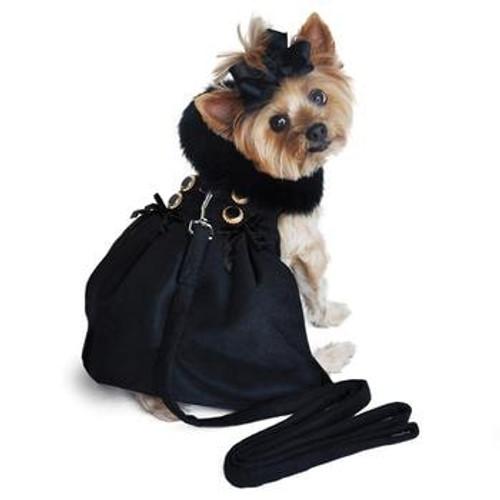 Little dog wearing Dog Harness Coat - Wool Fur-Trimmed in Black
