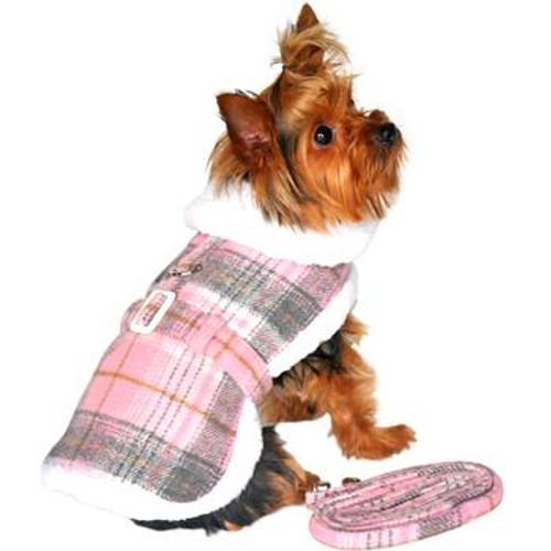Little dog wearing Dog Harness Coat - Sherpa-Lined in Pink & White Plaid