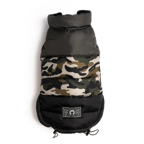camo colorblock puffer coat for dogs