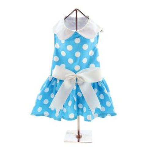 Dog Dress - Blue Polka Dot