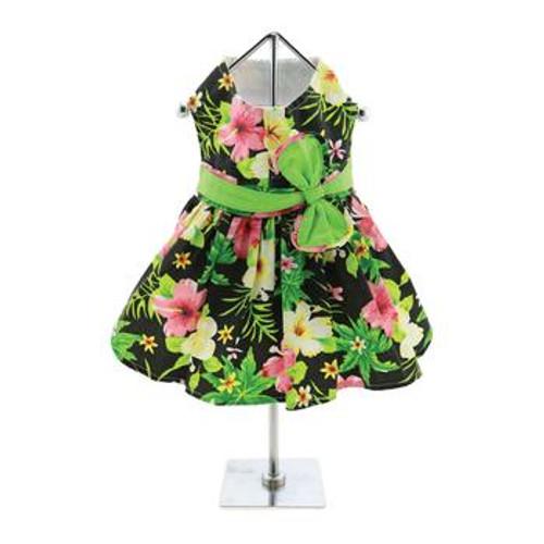 Dog Dress - Twilight Black Hawaiian Hibiscus