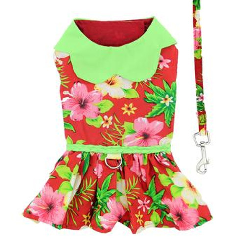 Dog Dress - Hawaiian Red Hibiscus with matching leash
