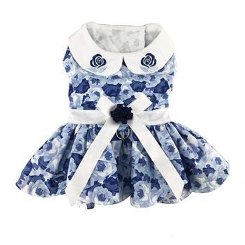 Dog Harness Dress - Blue Rose