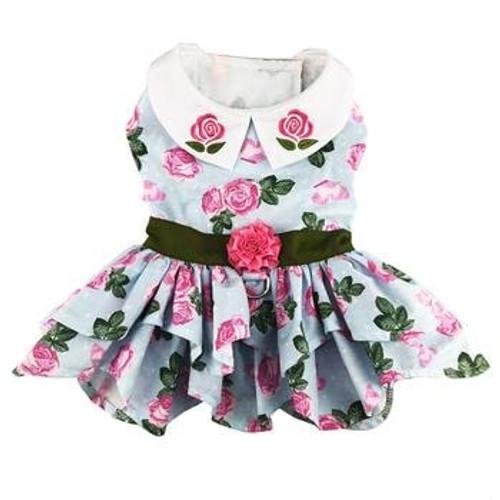 Dog Harness Dress - Pink Rose