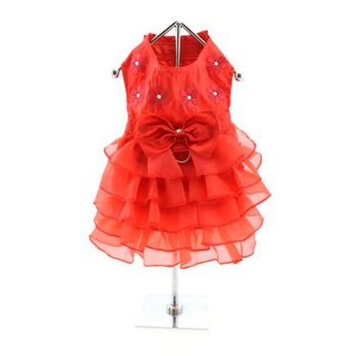 Holiday Dog Dress - Red Satin