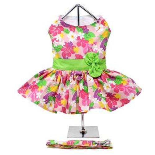 Dog Harness Dress - Pink Hawaiian Floral