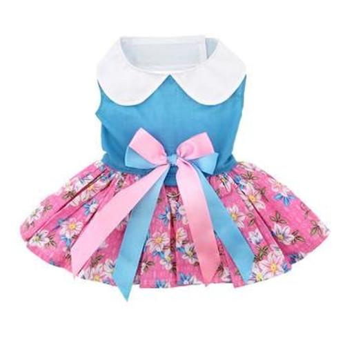 Dog Dress - Pink and Blue Plumeria Floral