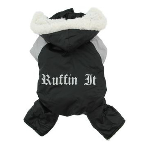 Dog Snowsuit Harness - Black and Gray Ruffin It