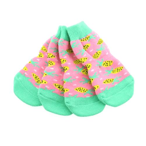 Pairs of  Dog Socks - Non-Skid Pink Pineapple