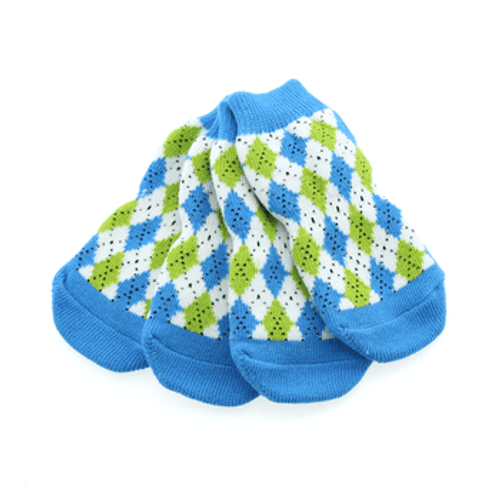 Dog Socks - Non-Skid Blue and Green Argyle