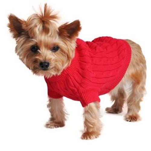 Cable Knit Dog Sweater - Combed Cotton Fiery Red