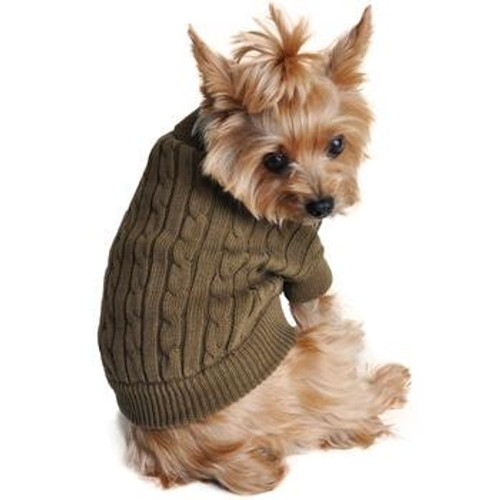 Cable Knit Dog Sweater - Combed Cotton Herb Green