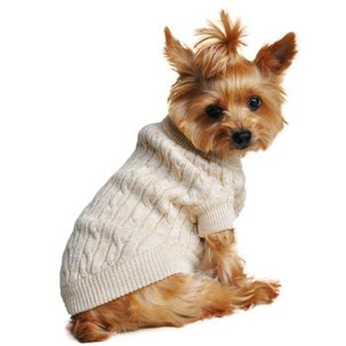 Cable Knit Dog Sweater - Combed Cotton Oatmeal