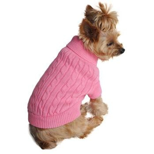 Cable Knit Dog Sweater - Combed Cotton Candy Pink