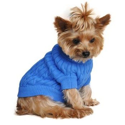 Cable Knit Dog Sweater - Combed Cotton Riverside Blue
