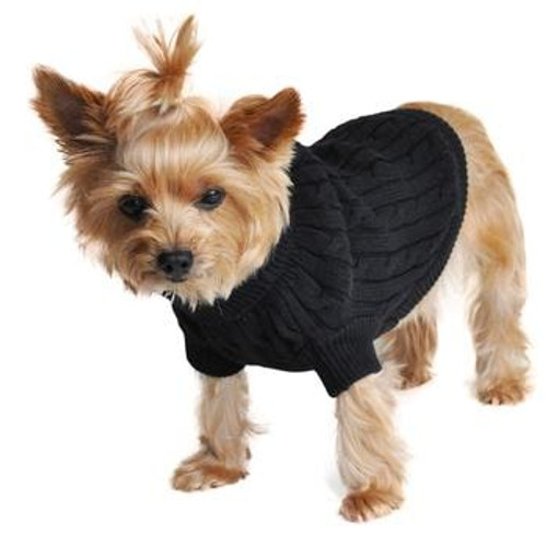 Cable Knit Dog Sweater - Combed Cotton Jet Black