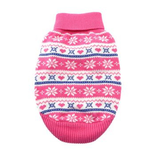 Dog Sweater - Combed Cotton Snowflake and Hearts in Pink
