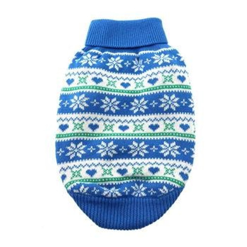 Dog Sweater - Combed Cotton Snowflake and Hearts in Blue