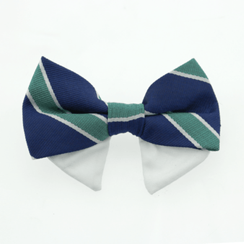 Dog Bow Tie - Navy Blue and Green Stripe