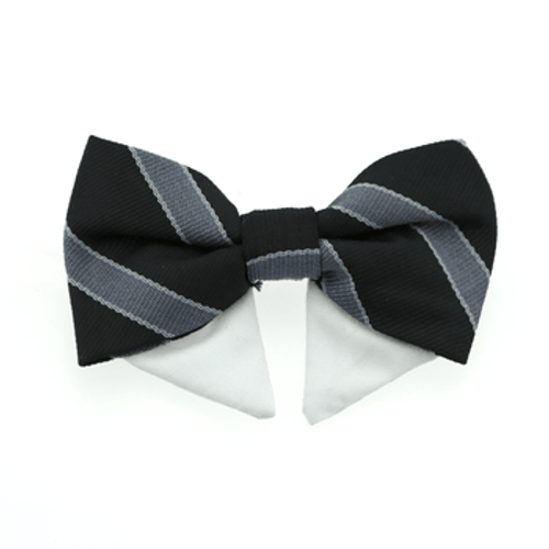 Dog Bow Tie - Black and Silver Stripe