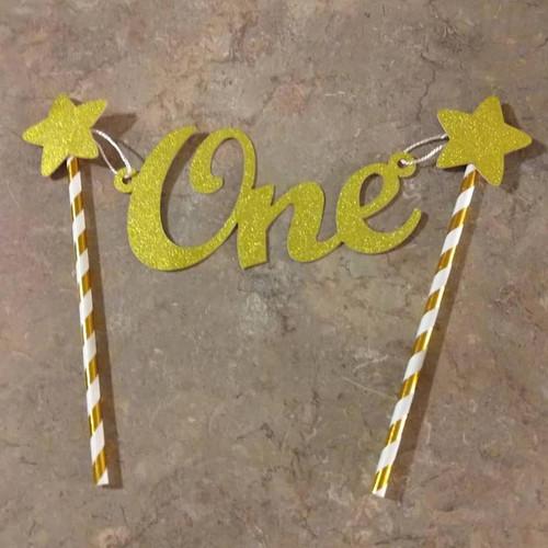 Dog Birthday Cake Topper - Gold Star